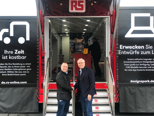 EMS CEO Keith Austin, introducing RS' James Howarth to their roadshow truck