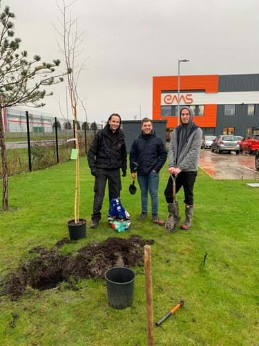Planting trees at EMS HQ